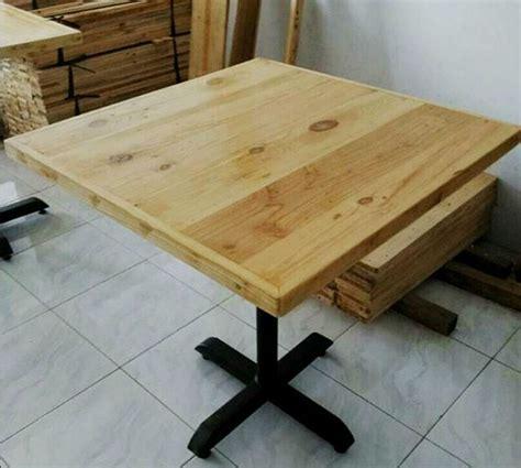 meja cafe minimalis kayu jati belanda rangka besi indoor