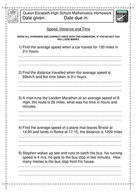 Speed, Distance And Time Worksheet By Jlcaseyuk  Teaching Resources