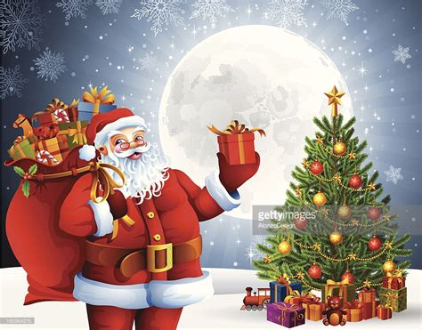 santa claus with gifts and christmas tree vector art
