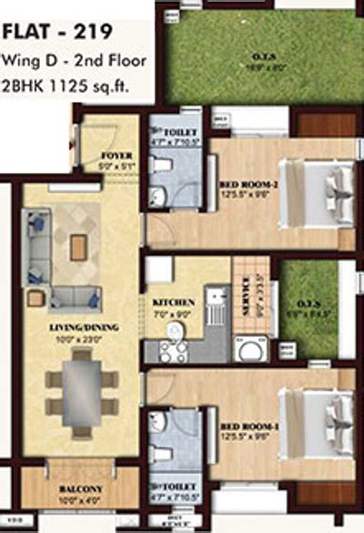 1125 Sq Ft 2 Bhk Floor Plan Image  Bbcl Midland Available