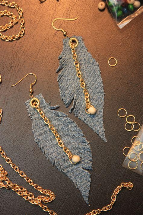 denim feather earrings     feather earring