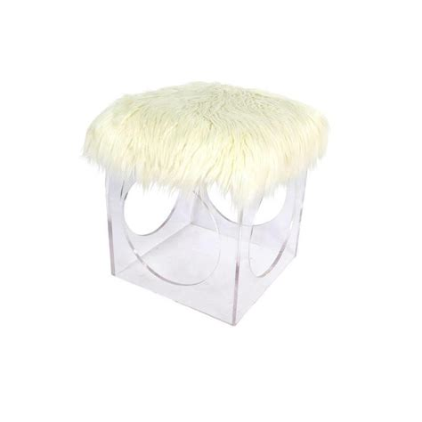 faux fur pink acrylic vanity stool