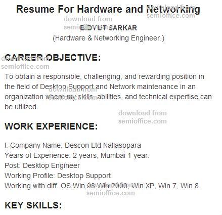 resume  hardware  networking engineer fresher