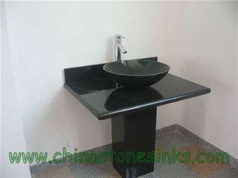 Shanxi Black Granite Pedestal Sink-mspds0018-shanxi Black