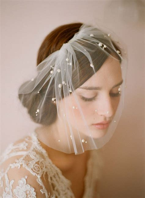 Bridal Tulle Veil With Pearl Beads Mini Tulle Veil With