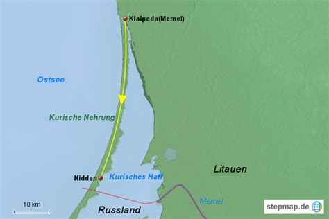 stepmap kurische nehrung landkarte fuer litauen