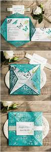 laser cut invitation shades of green and invitations on With laser cut wedding invitations teal