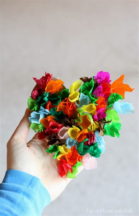 tissue paper heart craft  kids