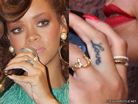 rihanna love finger tattoo steal  style