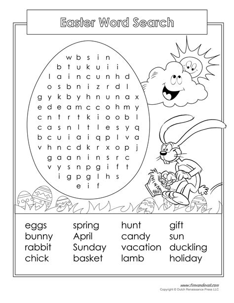 printable easter word search