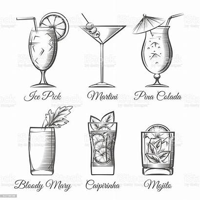 Cocktails Vector Engraving Alcohol Illustration Aperitif Drawing