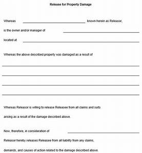 release for property damage template With property damage release form template