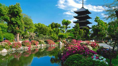 full hd wallpaper toji temple lake garden kyoto desktop