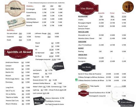 Carte Des Vins Boissons by Carte Des Boissons Et Vins