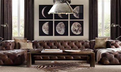 Restoration Hardware Living Room Pillows by Brown Tufted Leather Phases Of The Moon