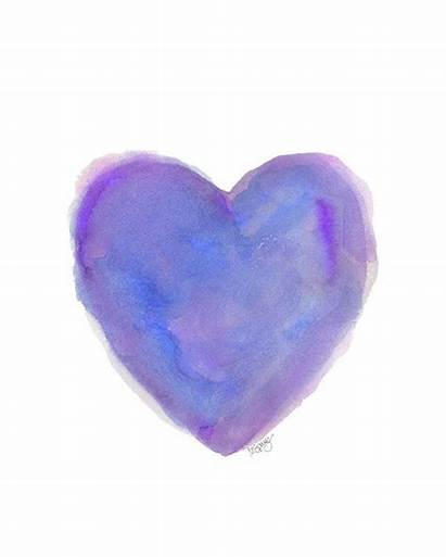 Purple Heart Hearts Watercolor Valentine Deep 8x10