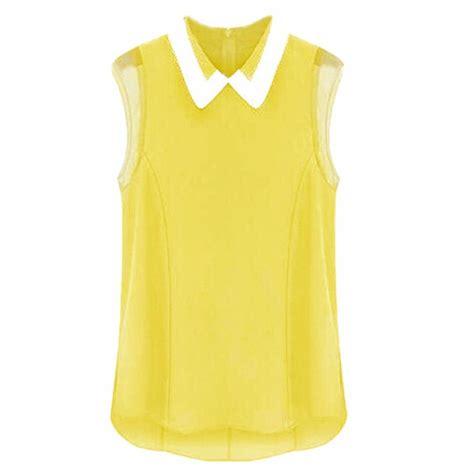summer tops and blouses pan collar sleeveless chiffon ol blouse
