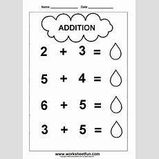Prek Addition Worksheets  Addition Worksheet  Cloud Theme  1 1 Digit Addition 2