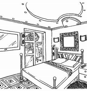 Bedroom clipart simple kid - Pencil and in color bedroom ...