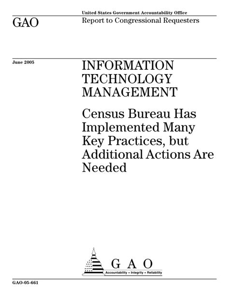 census bureau statistics gao 05 661 information technology management census