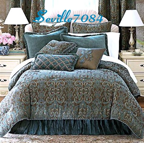 chocolate brown and blue bedding 6p full chris madden avondale teal blue brown comforter set bonus accent pillows ebay