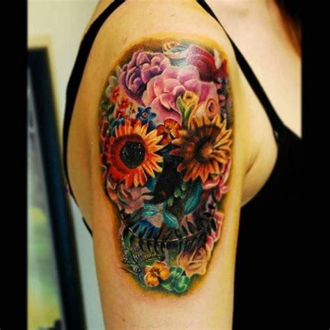 ideas  flower skull tattoos  pinterest pretty skull tattoos skull tattoos