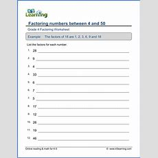 Grade 4 Factoring Worksheets Factor Numbers Less Than 50  K5 Learning