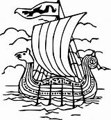 Viking Boat Coloring Line Clipart Clipartbest Ship Boats sketch template