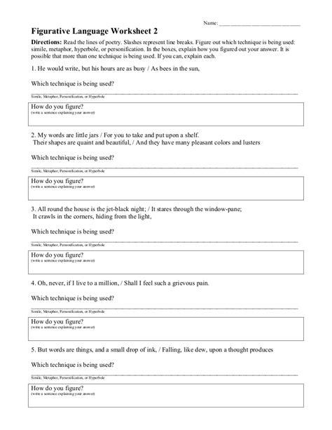 figurative language worksheets elementary worksheets for