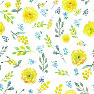 Seamless floral pattern with watercolor yellow and blue ...