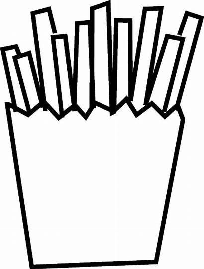 Fries French Coloring Pages Chips Burger Clip