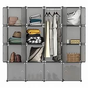 Rangement Vetement Chambre : langria armoire penderie 16 cubes avec portes meuble ~ Teatrodelosmanantiales.com Idées de Décoration