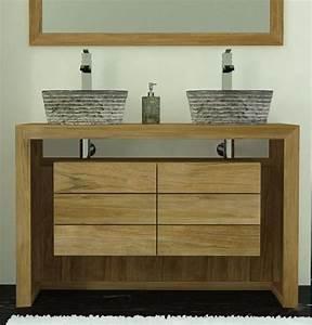 achat meuble de salle de bain groix walk meuble en teck With sdb teck