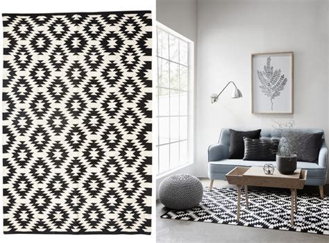 tapis blanc  noir idees de decoration interieure