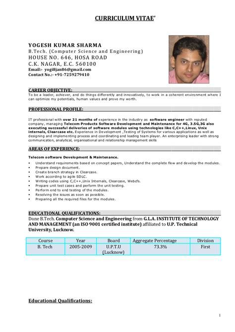 One Year Experience Resume Format For Developer by Yogesh Sharma Resume 21 Months Experience C C Linux Developer