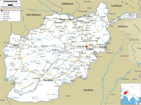 road map  afghanistan ezilon maps