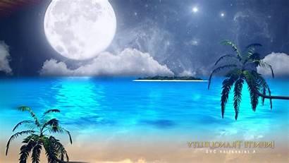 Fantasy Ocean Moon Beach Palm Island Wallpapers