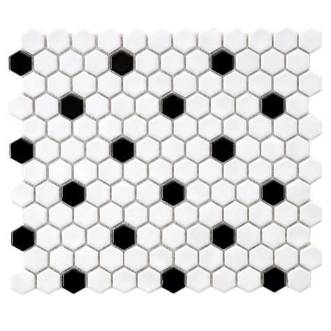 merola tile metro hex glossy white with black dot 10 1 4