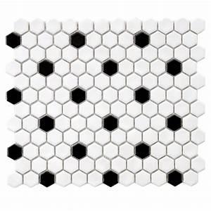 Merola Tile Metro Hex Glossy White with Black Dot 10-1/4 ...