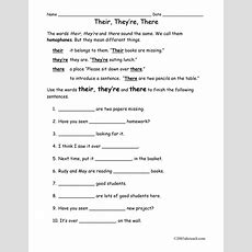 Worksheet There, They're, Their (elem) By Abcteach  Teaching Resources Tes