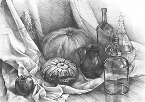 still life with pumpkins ORIGINAL PENCIL DRAWING by Katarzyna