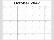 October 2047 Free Calendar Download