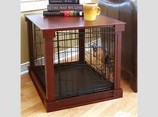 Wood and Wire End Table Dog Cage at BaxterBoo