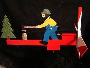 Whirligig of Man Chopping Wood