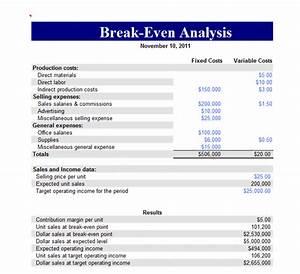 break even analysis report template sample helloalive With restaurant break even analysis template