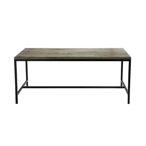 solid wood and metal industrial dining table w 178cm island maisons du monde