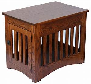 Wood dog crate furniture furniture design ideas for Mission style dog crate