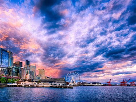 Sunset On The Seattle Waterfront Desktop Wallpaper Hd ...