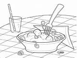 Pasta Coloring Spaghetti Pages Meatballs Template Noodles Drawing Noodle Italian Getdrawings sketch template