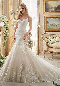 very romantic alencon lace appliques on tulle with wide With scalloped lace wedding dress